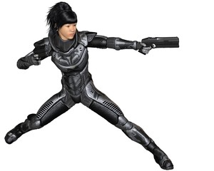 Future Soldier, Asian Female, Fighting - science fiction illustration