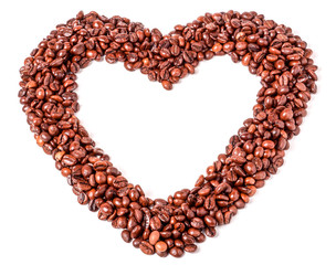 Background from coffee beans  in the form of heart.