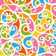 Bunter und Floraler Vektor Hintergrund mit Swirls und Twirls. Gekringelter und verschnörkelter farbiger, fröhlicher Background.