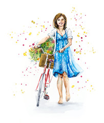 Girl with bicycle. Happy woman barefoot, in a blue dress, with flowers. Hand drawn watercolor illustration. Summer composition