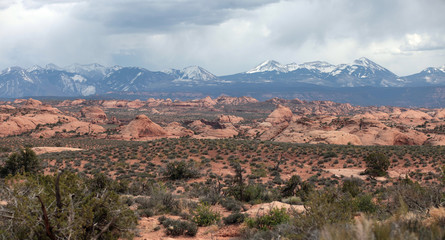 The red rock formations of Arches National Park in Utah are the result of thousands of years of wind and water activity.