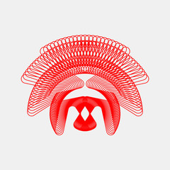 Red abstract fractal shape with light background for logo, design concepts, posters, banners, web, presentations and prints. Vector illustration.