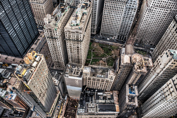 Arial view to Manhattan skyscrapers in Downtown financial disctrict