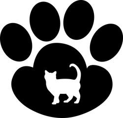 Силуэт лапа животного, кошка