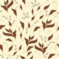 Hand drawn seamless pattern with green tea leaf.