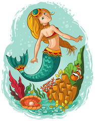 Cute young mermaid swimming underwater in the ocean