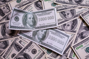 bill of one million dollars, a new brilliant idea, a million dollars, the thirst for wealth, success, get rich millionaire, background of the money, hundred dollar bills front side