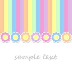 spring postcard background with flowers and vertical stripes in pastel colors
