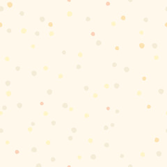 Polka dot hand draw seamless pattern. Vintage vector background pastel beige color. Minimalistic background