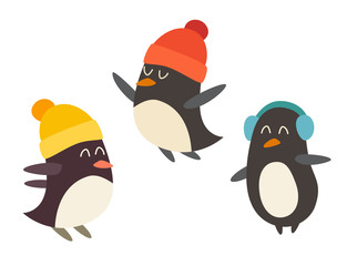 Penguin set cartoon vector illustration, isolated on white background