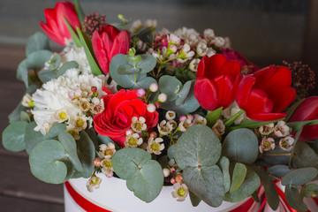 A basket of fresh flowers