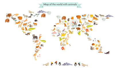 World mammal map silhouettes. Animals world map. Isolated on white background vector illustration. Colorful cartoon illustration for children and other people. Education