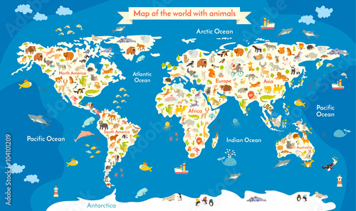 Map Of The World With Animals Beautiful Colorful Vector