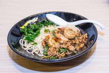 Spaghetti with shrimps and tomato sauce, italian cuisine
