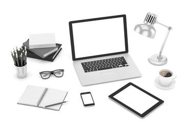 Responsive mockup screens. Laptop, tablet, phone on table