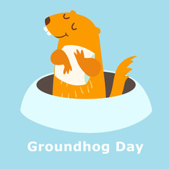 Groundhog Day. Vector illustration isolated on blue background. Groundhog peeking out of a hole in the ground