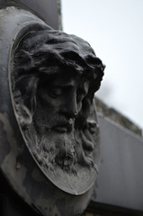 old jesus sculpture cementary