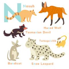 N letter animals set. English alphabet. Vector illustration, isolated on white background