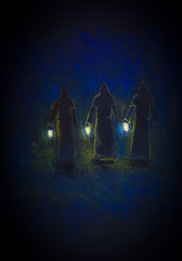 three monks with lamps