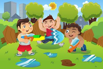 Kids Playing Water Gun
