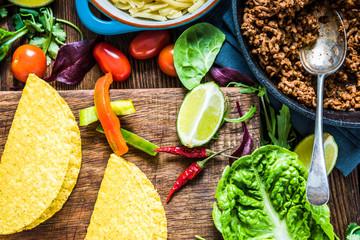 Mexican tacos with guacamole