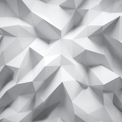 Photo of highly detailed white polygon. Abstract gradient graphic background. Square. 3d render