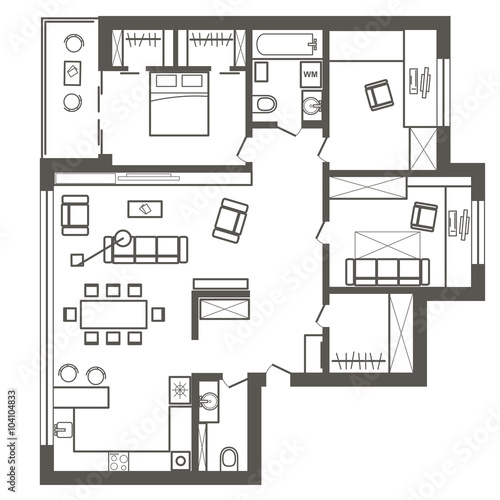 Linear architectural sketch plan of three bedroom for Sketch plan for 2 bedroom house