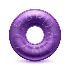 Round purple hard candy realistic illustration.