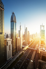 Keuken foto achterwand Dubai Dubai skyline in sunset time, United Arab Emirates