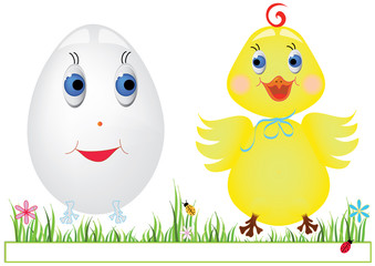 Egg and chicken on the grass with a narrow frame for text vector format