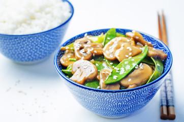 Snap peas Mushrooms Stir Fry