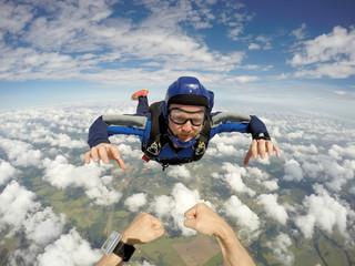 Skydiving caucasian man