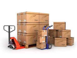 the concept of delivery, hand truck and hand truck loaded pallet