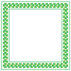 St Patricks Day square frame with shamrock on white background