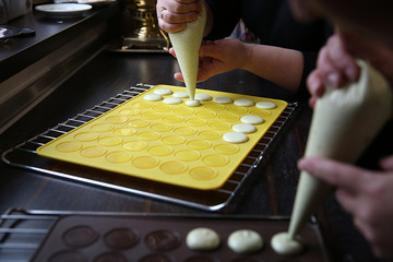 Process of making macaron/macaroon, french dessert