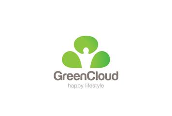 Green Man Cloud Eco Logo design Negative space Ecology Logotype