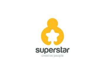 Man holding hands Star Logo design vector negative space