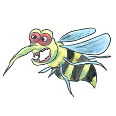 yellow black wasp angry cartoon watercolor isolated