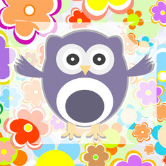 cute summer background owl with flower vector illustration
