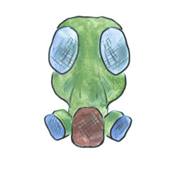 Military gas mask green watercolor cartoon isolated