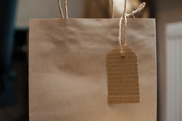 Brown kraft paper bag for gift and tag