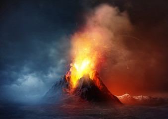 Garden Poster Deep brown Volcano Eruption. A large volcano erupting hot lava and gases into the atmosphere. Illustration.