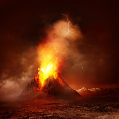 Foto op Canvas Rood paars Volcano Eruption. A large volcano erupting hot lava and gases into the atmosphere. Illustration.
