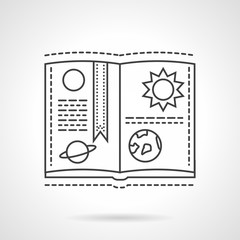 Planet book flat line design vector icon