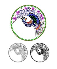 Peacock, Peafowl, cartoon image. Black and white and color variation. Possibility to paint according to your idea. Elaborate drawing.