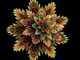 Creative dynamic three dimensional coral flower abstract fractal background