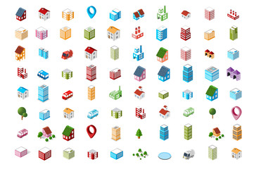 A set of colored icons Isometric city.