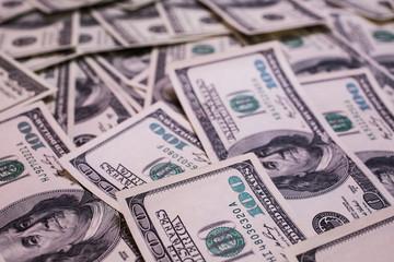 background of the money, hundred dollar bills front side. background of dollars, old hundred-dollar bill face, millionaire, businessman