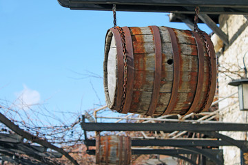 Wine barrel on the background of the sky