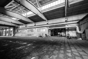 abandoned old industrial factory building in dark colors